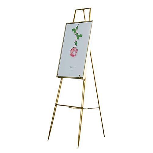 Chevalets en métal doré, chevalet pliant pour peinture à l'huile, idéal pour le support de cadre photo au sol (Size : 40×60×115cm)