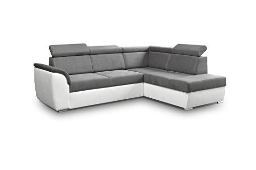 Ecksofa Sofa Eckcouch Couch mit Schlaffunktion und Bettkasten Ottomane L-Form Schlafsofa Bettsofa Polstergarnitur - MODENA II (Ecksofa Rechts, Grau)