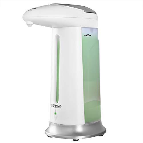 Monzana Automatischer Seifenspender 330ml | Infrarot Smart Sensor | Handseifenspender Automatisch | Desinfektionsmittelspender für Bad und Küche | weiß/Silber
