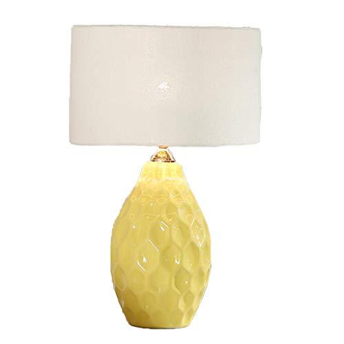 Amter Keramik-Lampe, Nachtzimmerlampe, Einfache Moderne Wohnzimmer-tischlampe Dekoration Hotelzimmer Nachttischlampe, Druckknopf-Schalter, E27, 30 * 48cm,Yellow