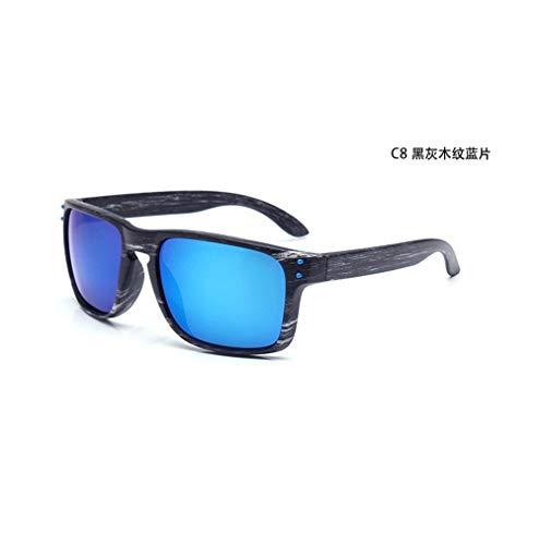 Wang-RX Sonnenbrille Männer Frauen Sportbrillen Nieten Holzmaserung Mode Vintage Sonnenbrille Brille Outdoor Fahren Uv400 15 Farben