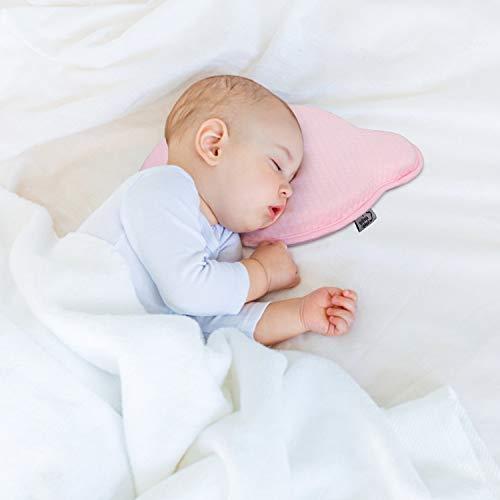 Cuscino Neonato Plagiocefalia per la Prevenzione e Cura della Testa Piatta in Memory Foam Antisoffoco con Federa Sfoderabile + 1 FEDERA BIANCA GRATIS (Medium, Rosa)