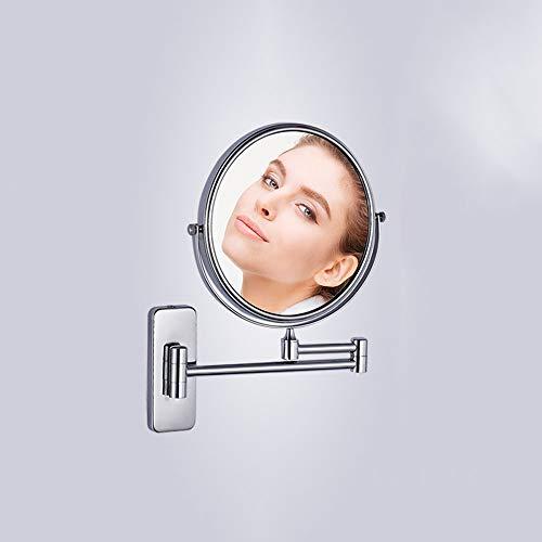 Ghelf Badezimmerspiegel Wand-Hotel Doppelseitiger Vergrößerungsspiegel Badezimmer Teleskop-Klappspiegel Voller Kupferspiegel Doppelseitiger Vergrößerungsfaktor Frei drehendes Doppelgelenk