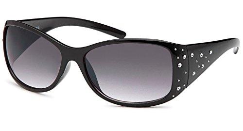 UVprotect große Damen Sonnenbrille mit seitlichen Strass Applikationen schwarz W72-4