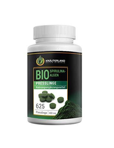 Kräuterland BIO Spirulina Algen Presslinge, 625 Stück a 400mg, Vegan, 100% Rein und ohne Zusatzstoffe, Made in Germany