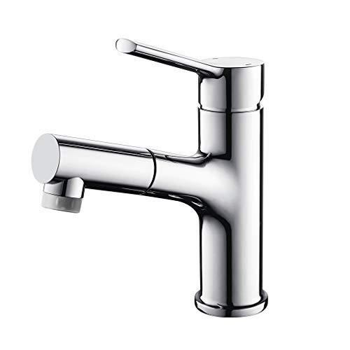 LONHEO ausziehbare Waschtischarmatur mit 2 Strahlarte, chrom Bad Wasserhahn mit herausziehbarer Handbrause, Waschbeckenarmatur ideal zum Haarewaschen.