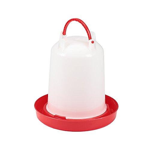 Melko Geflügeltränke Wasserspender Getränkeautomat Antibakteriell aus Kunststoff für Geflügel, Hühner, Ente, Rot (3 Liter)