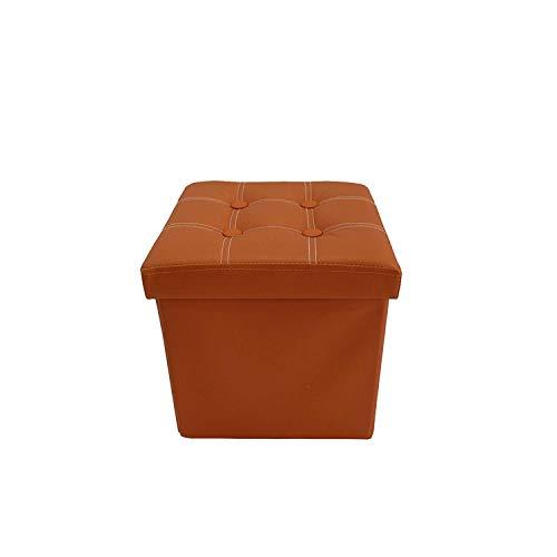 rebecca mobili pouf poggiapiedi, sgabello arancione con coperchio, similpelle, arredo casa - misure: 29 x 31 x 31 cm (hxlxp) - art. re6154