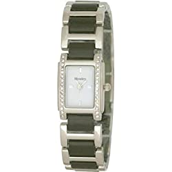 HENELY LADIES BLACK PVC LINK BRACELET WATCH WITH WHITE DIAL