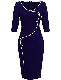 HOMEYEE femmes Les élégant bouton bleu foncé à manches Slim Party Soirée d'affaires Robe B329