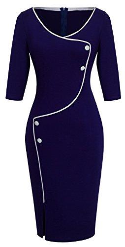 Homeyee Frauen elegante dunkelblaue Knopf Hülsen-dünne Abend-Partei-Geschäfts, figurbetontes Kleid B329 (EU 38 = Size M, Dunkelblau) (Weißes Kleid Anzüge)