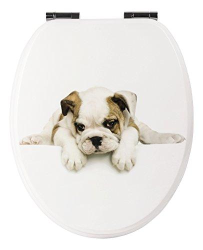 Sanlux 40388 7 Sitz Hundeblick, Toilettensitz, WC-Brille aus Holz, Soft-Close-Absenkautomatik, Klodeckel, Toilettendeckel, Metall-Scharnier, Dekor, Universal