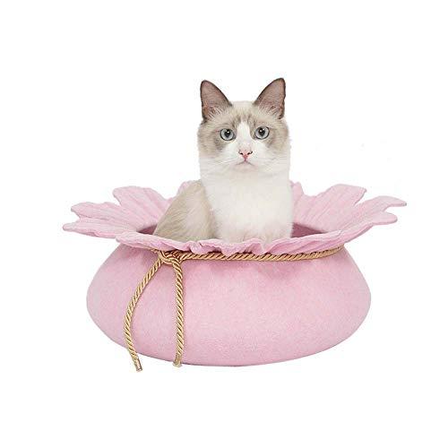 HANPIN-PETS Gato Nest Bed Mascotas Forma Flor Fieltro