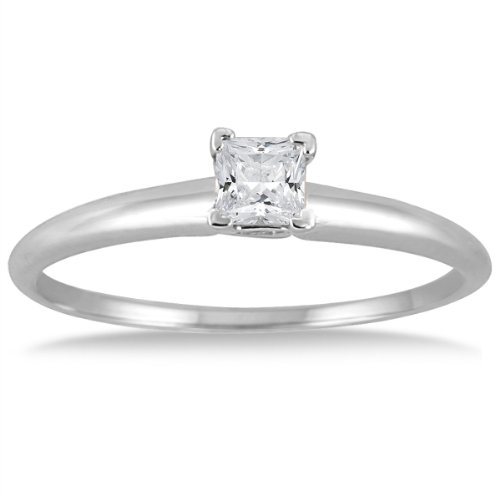 1/7 Karat Prinzessin Diamant Solitaire Ring in 14 K Weiß Gold Solitaire Engagement Ring 14k