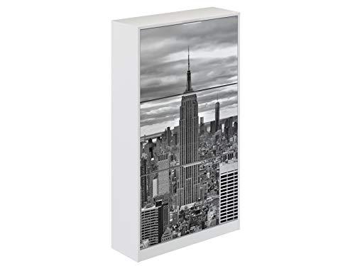 Movian Constance Modern - Armario zapatero de 3 puertas Nueva York, 25 x 75 x 128 cm (estampado)