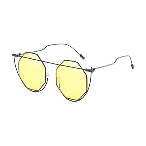 LX-LSX Sonnenbrille-unregelmäßige Außendekoration-Straßen-Schießen-Metallbequeme Und Dauerhafte Anti-UVsonnenschutz-Damen-Sicherheitsgläser (Farbe : Black Frame transparent Yellow Lens)