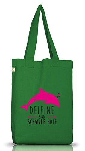 Shirtstreet24, Delfine sind schwule Haie, Jutebeutel Stoff Tasche Earth Positive (ONE SIZE) Moss Green