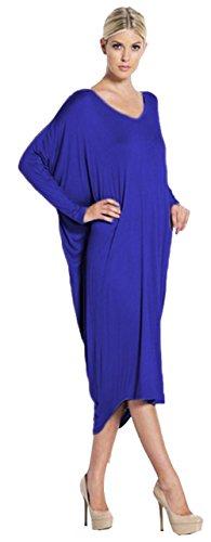 Alaix Frauen Langarm-lose unregelmäßiger Rand Herbst Kleid Blau