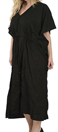 La Leela Frauen Wear Kleid Maxi langen Kimono Kaftan verschleiern Kaftan plus size Schwarz 2