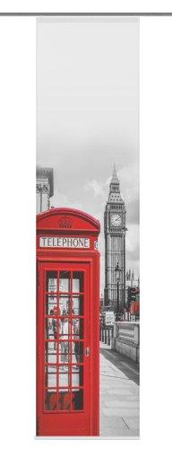 Home Fashion 87865-707 Schiebevorhang Digitaldruck Big Ben, Seidenoptik, 245 x 60 cm, rot (Flächenvorhänge Rot)