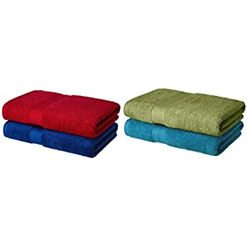 Amazon Brand - Solimo 100% Cotton 2 Piece Bath Towel Set, 500 GSM (Iris Blue and Spanish Red) 100% Cotton 2 Piece Bath Towel Set, 500 GSM (Olive Green and Turquoise Blue) Combo