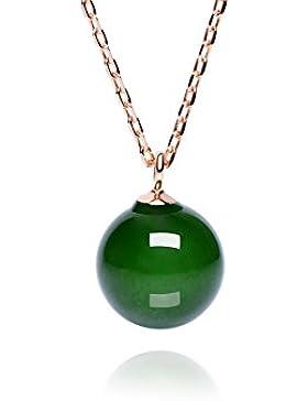Dalwa Kette Damen 14 Karat 585 Gold vergoldete Halskette aus 925 Sterling Silber mit Jadeite Jade Perle-Anhänger...