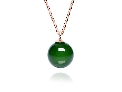 Dalwa Kette Damen 14 Karat 585 Gold vergoldete Halskette aus 925 Sterling Silber mit Edelstein Jadeite Jade Perle-Anhänger Grün 45 cm verstellbar inkl. Geschenkverpackung