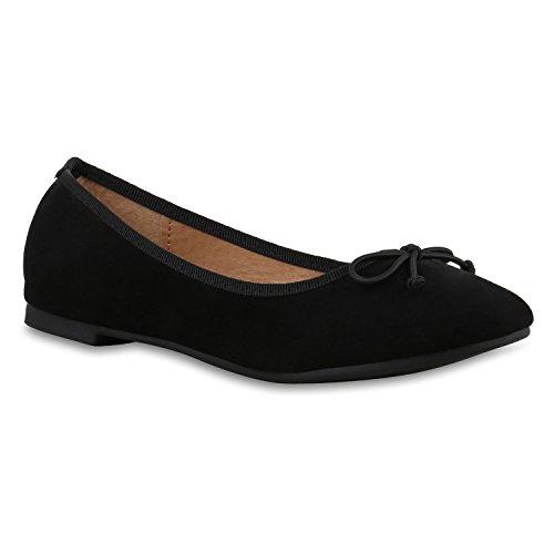 Klassische Damen Ballerinas Flats Leder-Optik Lack Glitzer Schleifen Ballerina Übergrößen Schuhe 132722 Schwarz Matt 39 Flandell