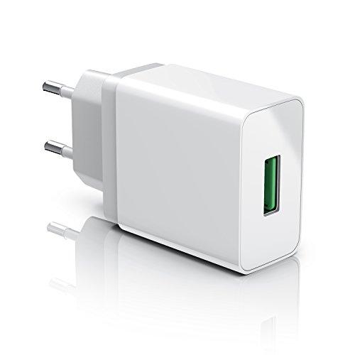 CSL - USB Ladegerät 18W Quick Charge 3.0 | Netzteil mit Schnellladefunktion | Smart Charge + Solid Charge (intelligentes Laden) | geeignet für Handys, Smartphones, Navis, Tablets uvm. | weiß (18 Watt-usb-ladegerät)