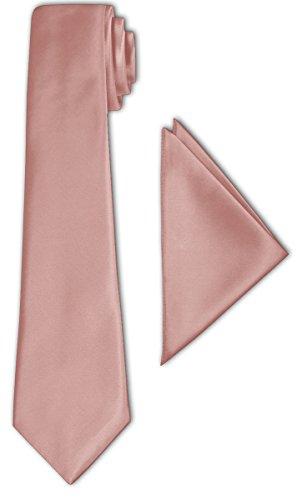 CRIXUS Krawatte klassisch Lachs Satin-Krawatte mit oder ohne Einstecktuch ( Tuch Maß 26 x 26 cm )...