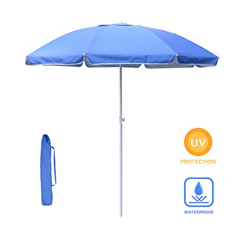 YOUKE Sonnenschirm, 2m, Marktschirm, Sonnenschutz, achteckiger Gartenschirm aus, knickbar, mit Tragetasche, ohne Ständer, für Strand, Garten, Balkon und Schwimmbad, Blau