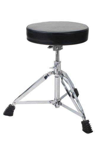 XDrum Session DHS-1 Schlagzeughocker (doppelstrebig, Höhenverstellbar 47-60cm, Durchmesser Sitzfläche 32cm, Dreibeinig mit Gummifüßen, zusammenklappbar, stabil) (Runde Sitzfläche 47)
