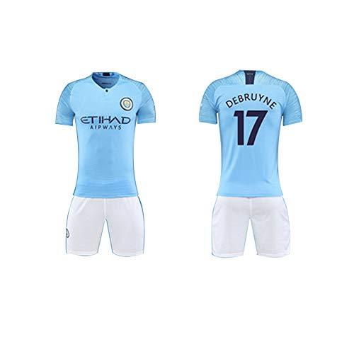 FNBA Manchester City FC Fußballtrikot für Jungen, 17 Kevin De Bruyne Fußballtrikot und Shorts Set-blue-150cm