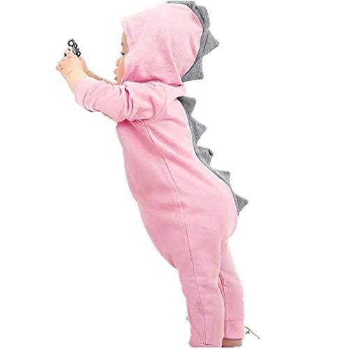 MEIbax Infant Kleinkind Baby Dinosaurier Hoodie Strampler Zip Kleidung Outfits Mädchen Jungen Langarm Kapuzen Overall