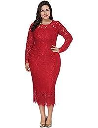 4455aa15c3fa Hzjundasi Plus Size Sera Vestito Donna - Cocktail Abito Elegante al  Ginocchio Maniche Lunghe Pizzo Cerimonia