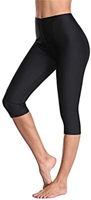 ALove Long Swim Shorts for Women UPF 50+ Swim Capri Pants Spandex Boradshorts