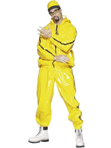 Männer Coller PVC Rapper Anzug Kostüm mit Kapuzenjacke, Hose und Mütze, perfekt für Karneval, Fasching und Fastnacht, L, Gelb ()