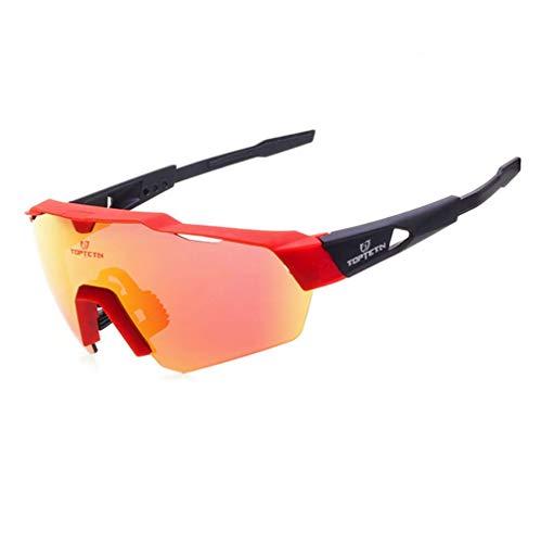 Polarisierte Sonnenbrille für Radfahrer, 3 Wechselgläser, 100% UV-Schutz für Männer, Fahren, Angeln, Sonnenbrille,RedBlack