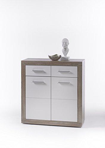 AVANTI TRENDSTORE - CanCan - Comò con 2 ante e 2 cassetti, in laminato di quercia Sonoma e bianco, dimensioni: LAP 82x88x37 cm