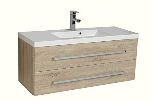 Quentis Waschplatz Set Genua, Breite 100 cm, Waschbecken und Unterschrank, Holzdekor Samba Eiche