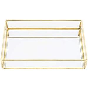 Fdit Vintage Metall Glas Aufbewahrungsbox Gold Tray Schmuck Kosmetik Display Boxen