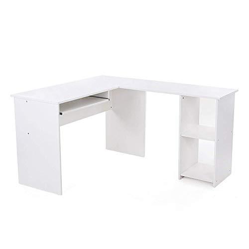 SONGMICS Schreibtisch großer Computertisch, Stabiler Eckschreibtisch, PC-Tisch, erleichterte Montage, 140 x 120 cm, Winkelkombination, BüRotisch mit 2 Ablagen und Tastaturauszug, Weiß LCD810W (L-form Schreibtisch Weiß)