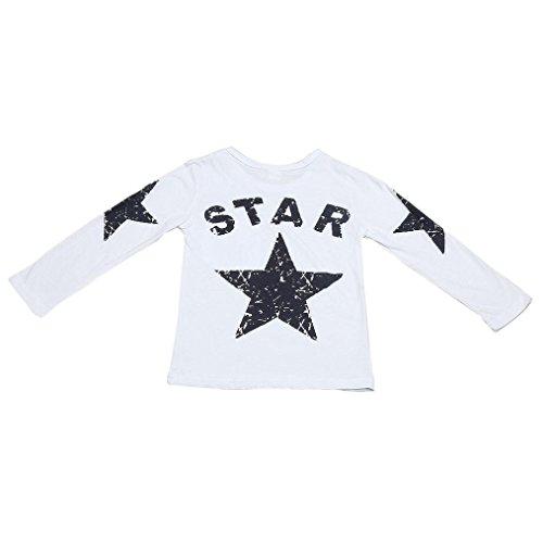 sunnymi Bekleidung Baby Jungen Mädchen Kleidung Fünfzackiger Stern Muster T-shirt ★Newborn Langarm Herbst Winter Für Lässig Täglich Geburtstag (5 Jahre alt, Weiß)