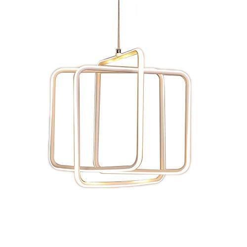 ZHANG NAN ● * Restaurant Kronleuchter Einfache Moderne Aluminium Kompakte Kronleuchter Fashion Square LED Deckenpendelleuchte Ring Licht Atmosphäre Hause Kreative Hängelampe (Farbe: Weißes Licht) ●
