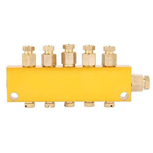 Ölverteilerventil Einstellbares Messing-Wert-Verteilerblock Fertigungsstraßen und Werkzeugmaschinen Schmiedemaschinen Druckgießmaschinen Holzbearbeitungsmaschinen(1 inlet 5 outlet)