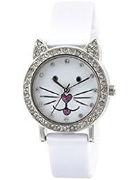Tikkers Kinder Quarz-Uhr mit weißem Zifferblatt Analog-Anzeige und Weiß Silikon Strap tk0110