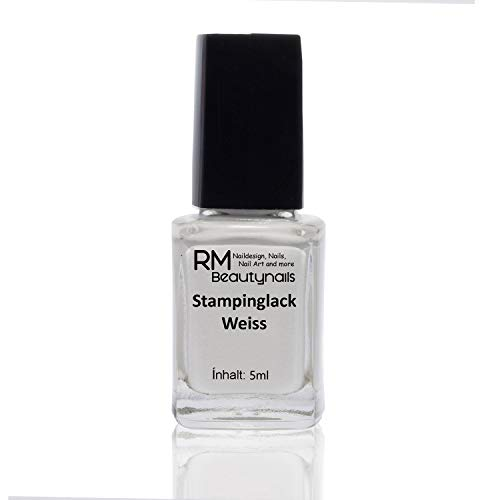 Stampinglack Weiss 5ml Stamping Lack Nagellack Nail Polish RM Beautynails