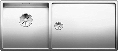 Blanco Claron 400/550-T-U, Kombination aus Spülbecken und Tropfbereich (Spüle links) für den Unterbau, Unterbaubecken, InFino-Auslauf, Edelstahl Seidenglanz; 521601 (Akzent 400 Möbel)