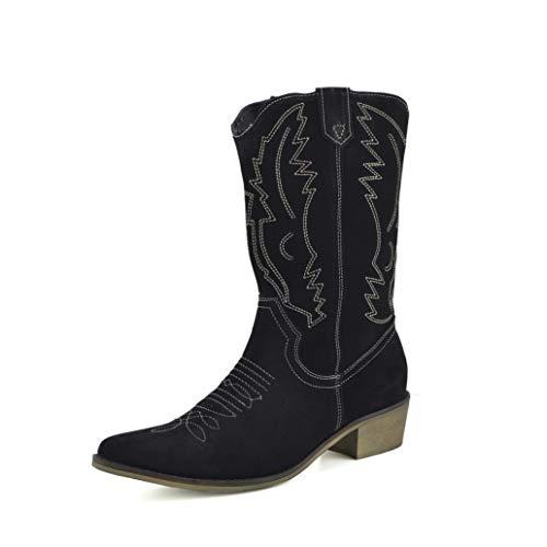 Kick Footwear Saque de Calzado de Damas A Mitad de La Pantorrilla Botas de - UK3/EU36, de Ante Negro
