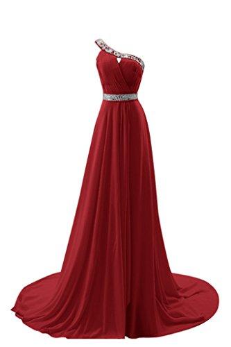 Gorgeous Bride Fashion Ein-Traeger A-Linie Chiffon Schleppe mit Paillette Abendkleider Ballkleider Festkleider Weinrot